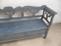 Lovely Grey / Blue 3-4 Seater Antique Pine Kitchen / Hall Box Settle / Bench (3 of 10)