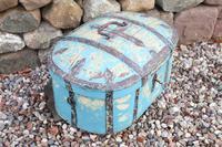 Scandinavian / Swedish 'Folk Art' Travel chest in blue paint and ironwork, 18th Century (31 of 37)