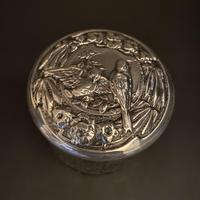 Silver Gilded Repousse Doves Bows & Flowers Vanity Jar (2 of 4)