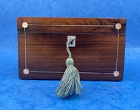 William IV Rosewood Twin Section Tea Caddy with Mother of Pearl Inlay (4 of 14)