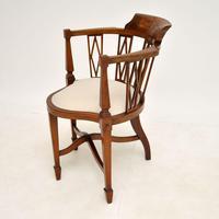 Antique Edwardian  Inlaid Mahogany Corner Chair (2 of 11)