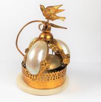Rare 19th Century Palais Royal Gilt Dove Bird & Mother of Pearl Bell (4 of 12)