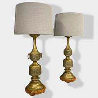Large Pair of Chinese Style Brass Lamps (6 of 14)