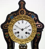 Antique Boulle Inlaid Mantel Clock Ebony French Portico Mantle Clock (2 of 6)