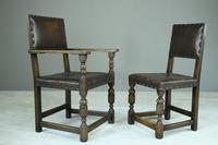 6 Cromwellian Style Brown Leather Dining Chairs (12 of 12)