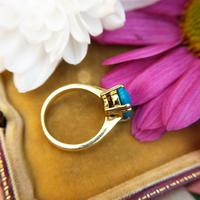 Vintage 18ct Yellow Gold & Turquoise Solitaire Ring (3 of 7)