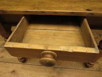 Antique Country Pine Plank Top Table with Drawer, Kitchen Dining Table Seats 4 (4 of 10)