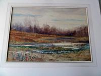 Fine Large  19th Century English School Watercolour - Wooded Marshland Scene. (2 of 5)