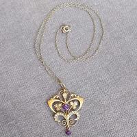 Victorian Art Nouveau 9ct Gold Pendant (6 of 9)