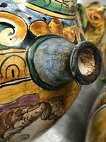 Pair of Fine 20th Century Italian Pottery Sea Horse Romantic Lovers Wine Pitcher Ewer Vases (11 of 12)