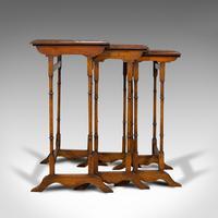 Antique Trio of Nest Tables, English, Walnut, Mahogany, Nesting, Side, Edwardian (2 of 12)
