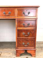 Reproduction Yew Wood Kneehole Desk (5 of 12)