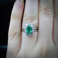Vintage Emerald and Diamond Platinum Oval Cluster Halo Ring (5 of 9)