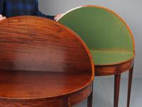 Matched Pair of George III Inlaid Mahogany Demi Lune Tables (15 of 19)
