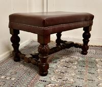 Large Victorian Oak & Leather Library Stool (3 of 6)
