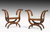 Pair of Early 19th Century Mahogany Framed Stools with Flared Uprights (5 of 6)