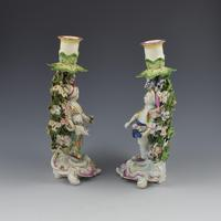 Derby Porcelain Pair Bocage Candlestick Figures Children Gardeners c.1770 (4 of 12)