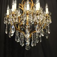 French Gilded Bronze 17 Light Crystal Chandelier (10 of 10)