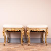 Decorative Pair Of Painted And Gilded Continental 19th Century Stools