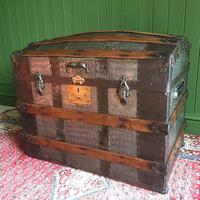 Antique Victorian Dome Top Steamer Trunk Old Gothic Travel Chest Metal Storage Box Steampunk Style (6 of 10)