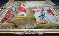 Large Elegant 20th Century Vintage Antique Embroidery Wall Hanging in Gilt Frame (11 of 12)