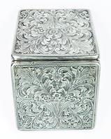 Italian Silver Bright Cut Compact Mirror 1950s (8 of 9)