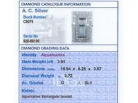 3.51ct Aquamarine & 3.72ct Diamond Platinum Dress Ring - Vintage c.1940 (6 of 9)