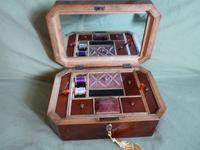 Octagonal Flame Mahogany Jewellery - Sewing Box. Original Tray