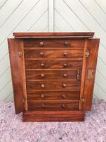 Antique Small Walnut Wellington Collectors Chest (6 of 10)