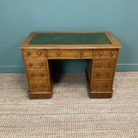 Victorian Golden Oak Antique Pedestal Desk (5 of 7)
