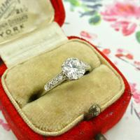 Art Deco Platinum old European cut diamond solitaire engagement ring 0.65ct ~ With appraisal & valuation (10 of 11)