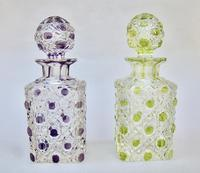 Beautiful Pair of French Lime & Amethyst Glass Hobnail Cut Scent Bottles c.1900 (2 of 7)