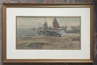 Joseph Hughes Clayton Watercolour - Fishing Vessels St Ives Cornwall' (2 of 2)