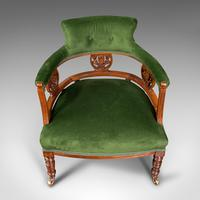 Antique Tub Chair, English, Velvet, Mahogany, Elbow, Seat, Edwardian c.1910 (8 of 12)