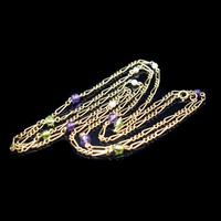 Antique Amethyst Peridot and Pearl Fiagro 15ct 15k Gold Long Guard Chain Necklace Suffragette (6 of 9)