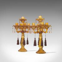 Pair of Antique Candelabra, English, Glass, Candle Stand, Victorian c.1890 (5 of 12)