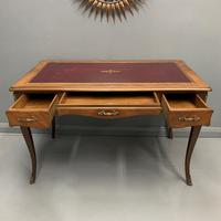 French Red Leather Top Bureau Plat (4 of 9)