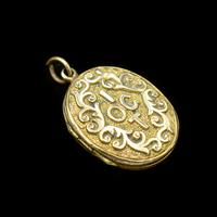 Antique 'IOGT' Rolled Gold Double Sided Engraved Oval Photo Locket Pendant (2 of 9)