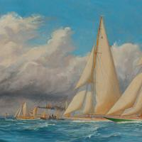 A rare painting of 1930 America's Cup racing off Newport, signed 'Harold Wyllie' (5 of 12)