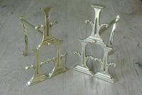 Unusual Pair of Edwardian Brass Fire-dogs Fire Iron Rest Andirons Registered 1905 (6 of 7)