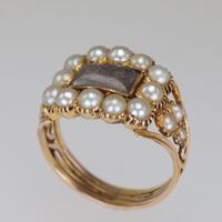 Georgian 15ct Gold Pearl Antique Memorial English Ring c.1800 (12 of 20)