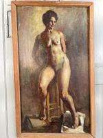 Antique Nude Oil Painting Portrait of Seated Figure by Alys Woodman RBSA (3 of 10)