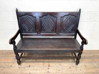 Antique Carved Oak Settle Bench (3 of 10)