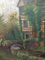 Edwardian Oil Painting Historical Tudor House Little Moreton Hall Congleton (2 of 12)