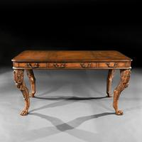 Unusual Mid 20th Century Spanish Cast Iron & Leather Clad Writing Table