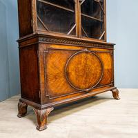Mahogany & Burr Walnut Glazed Bookcase (9 of 11)