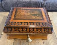 William IV Birch Penwork Jewellery Box (13 of 16)