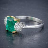 Art Deco Colombian Emerald Diamond Trilogy Ring Platinum 18ct Gold 2.55ct Emerald With Cert (5 of 9)