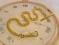 Vintage Pocket Watch Chain 1970s 12ct Gold Plated Curb Link Albert With T Bar (3 of 9)