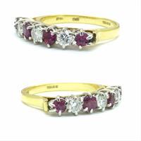 Vintage 18ct Ruby & Diamond seven stone ring ~ 40th wedding Anniversary (7 of 10)